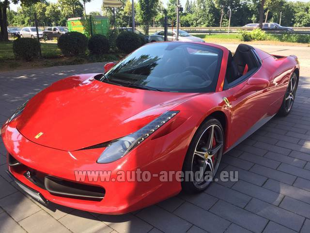 Rental Ferrari 458 Italia Spider Cabrio Red in Monaco